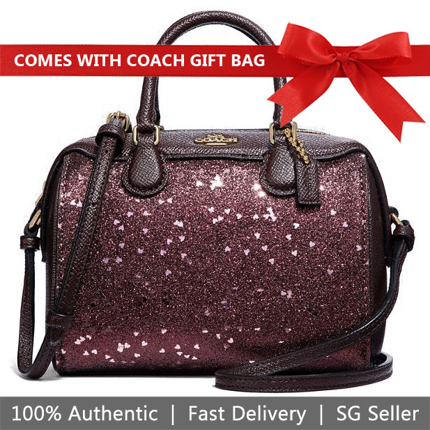 Coach Crossbody Bag With Gift Bag Micro Bennett Satchel With Heart Glitter Raspberry Red / Gold # F38063