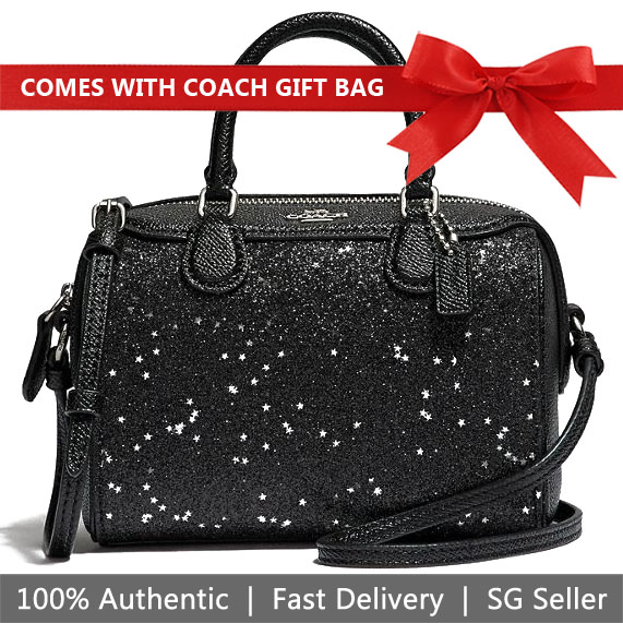 Coach Crossbody Bag With Gift Bag Micro Bennett Satchel With Star Glitter Black / Silver # F37747