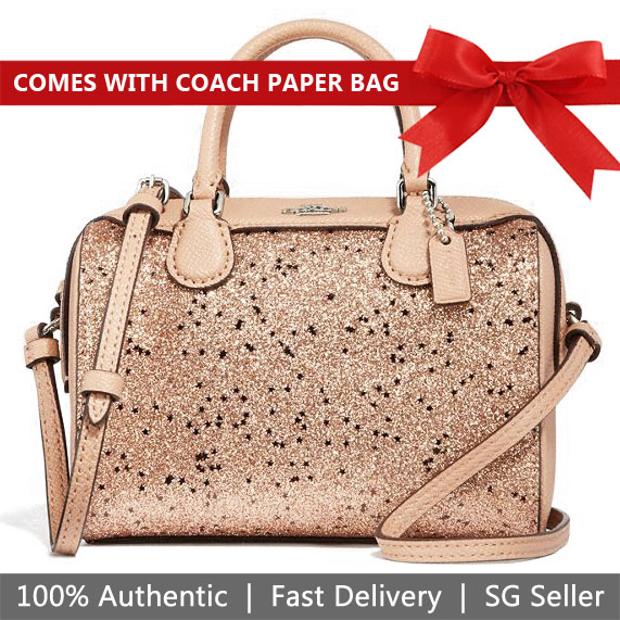 Coach Crossbody Bag With Gift Bag Micro Bennett Satchel With Star Glitter Gold / Silver # F37747