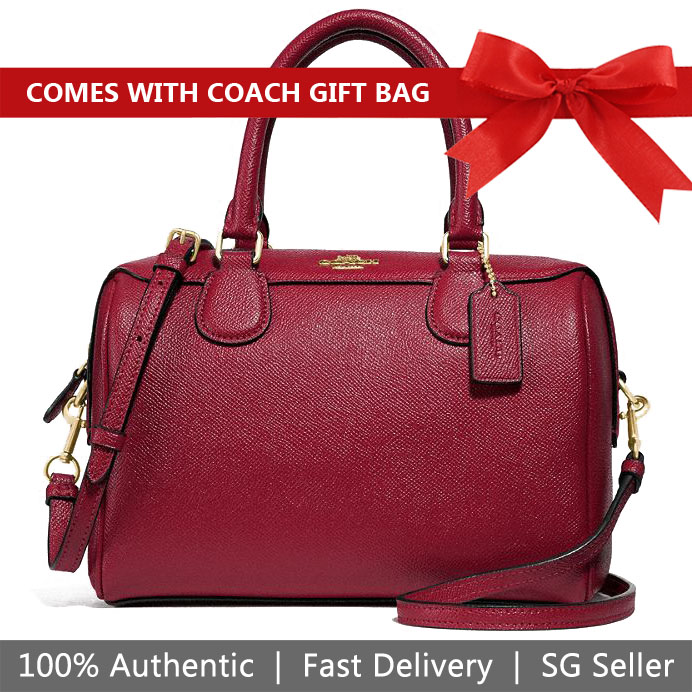 Coach Crossbody Bag With Gift Bag Mini Bennett Satchel Crossbody Bag Cherry Red / Gold # F32202