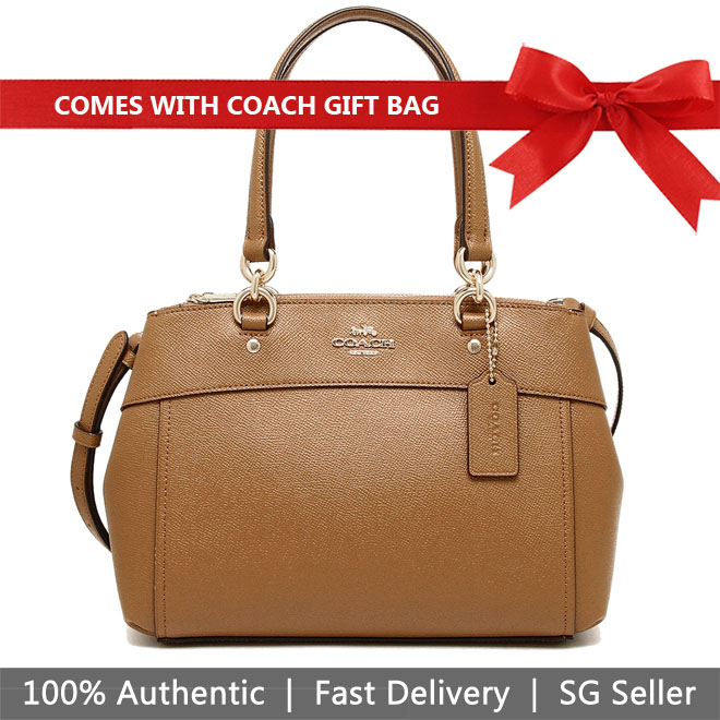 Coach Crossbody Bag With Gift Bag Mini Brooke Carryall Light Saddle Brown / Gold # F25395