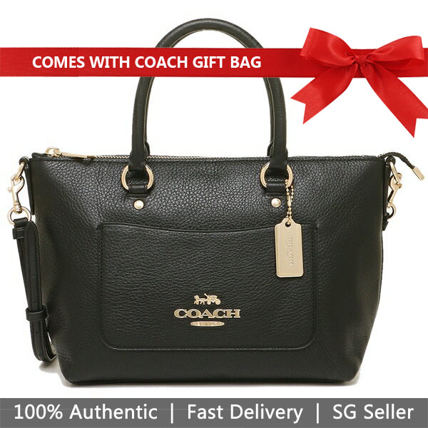 Coach Crossbody Bag With Gift Bag Mini Emma Satchel Black # F31466