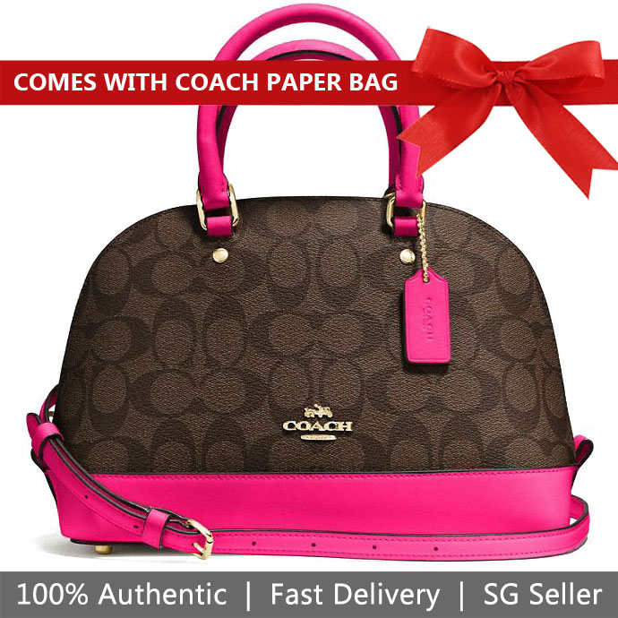 Coach Crossbody Bag With Gift Bag Mini Sierra Satchel In Signature Coated Canvas Brown / Bright Fuchsia Pink # F58295