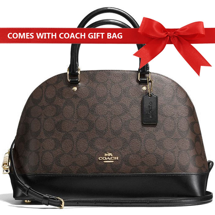 Coach Crossbody Bag With Gift Bag Sierra Satchel In Signature Brown / Black # F58287