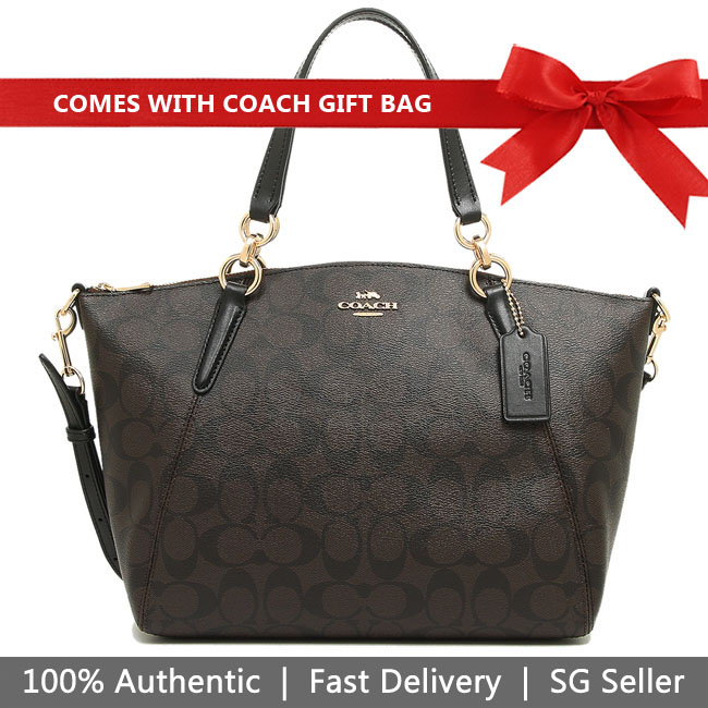 Coach Crossbody Bag With Gift Bag Small Kelsey Satchel In Signature Canvas Brown / Black / Gold # F28989