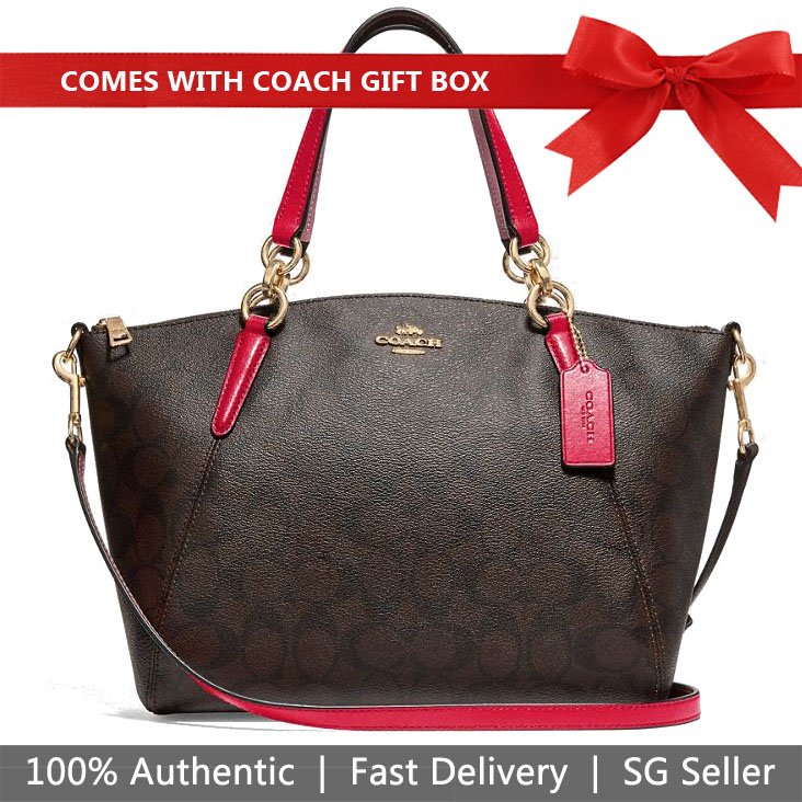 Coach Crossbody Bag With Gift Bag Small Kelsey Satchel In Signature Canvas Brown / True Red # F28989