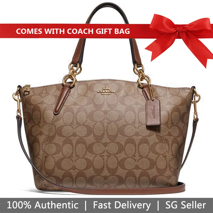 Coach Crossbody Bag With Gift Bag Small Kelsey Satchel In Signature Canvas Khaki / Saddle Brown 2 # F28989