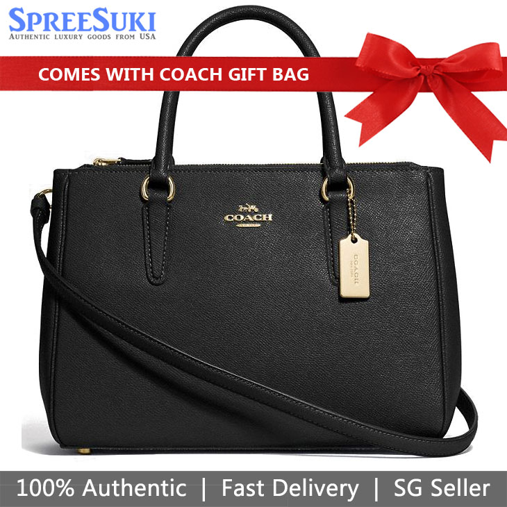 Coach Crossbody Bag With Gift Bag Surrey Carryall Black # F44958