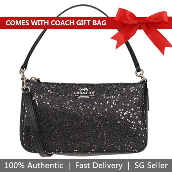 Coach Crossbody Bag With Gift Bag Top Handle Pouch With Star Glitter Black / Silver # F39656