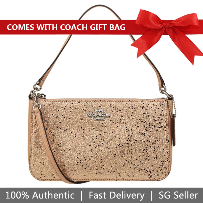 e4597f4335a8 Coach Crossbody Bag With Gift Bag Top Handle Pouch With Star Glitter Gold    Silver