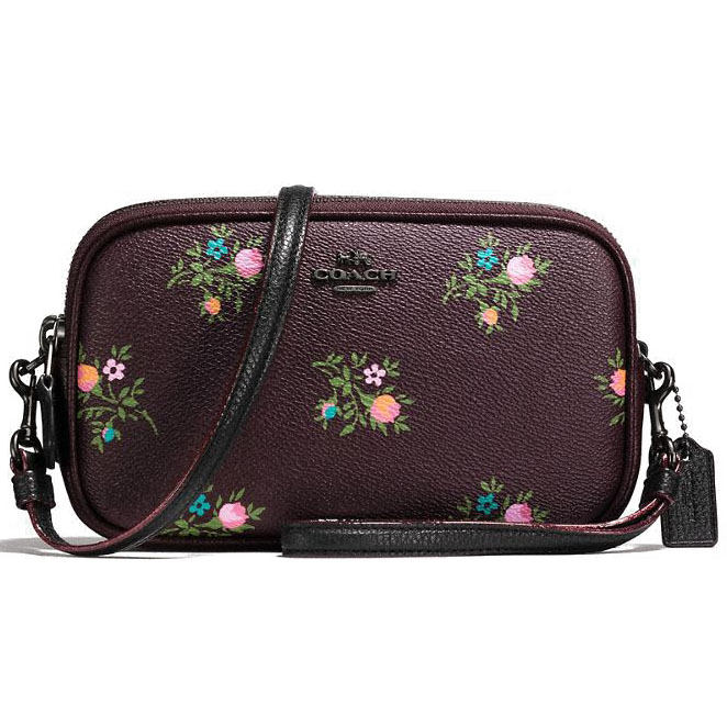 Coach Crossbody Clutch With Cross Stitch Floral Print Oxblood Cross Stitch Floral / Dark Gunmetal # 22836