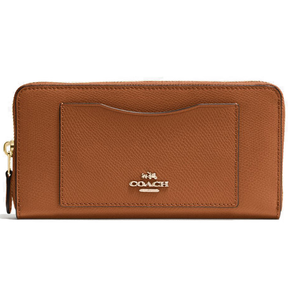 Coach Crossgrain Leather Accordion Zip Wallet Saddle Brown # F54007