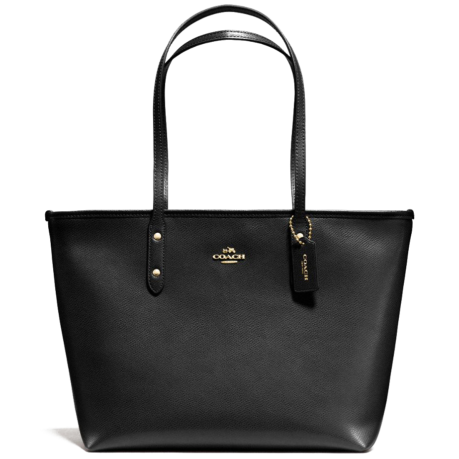 Coach Crossgrain Leather City Zip Top Tote Black # F36875