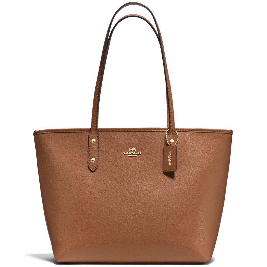 Coach Crossgrain Leather City Zip Tote Saddle / Gold # F37785