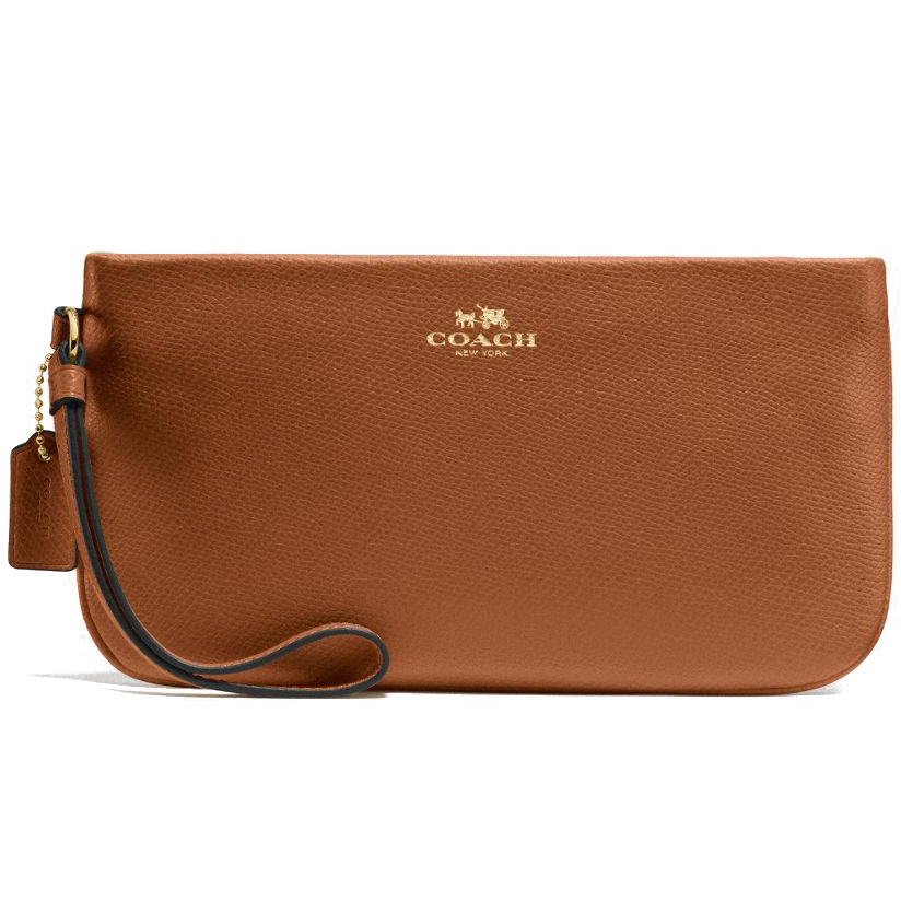 Coach Crossgrain Leather Large Wristlet Saddle Brown / Gold # F65555