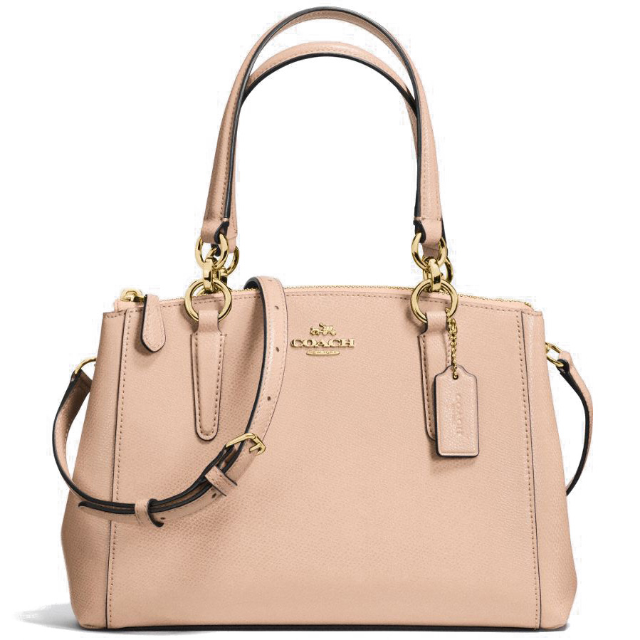 Coach Crossgrain Leather Mini Christie Carryall Crossbody Shoulder Bag Beechwood Nude / Gold # F57523