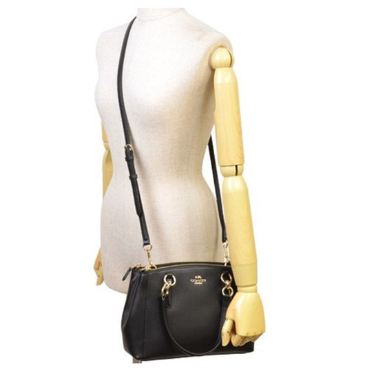 39959b421 Coach Crossgrain Leather Mini Christie Carryall Crossbody Shoulder Bag Black    F36704