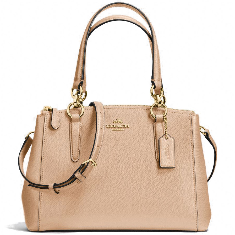 Coach Crossgrain Leather Mini Christie Carryall Crossbody Shoulder Bag Nude Beige # F36704