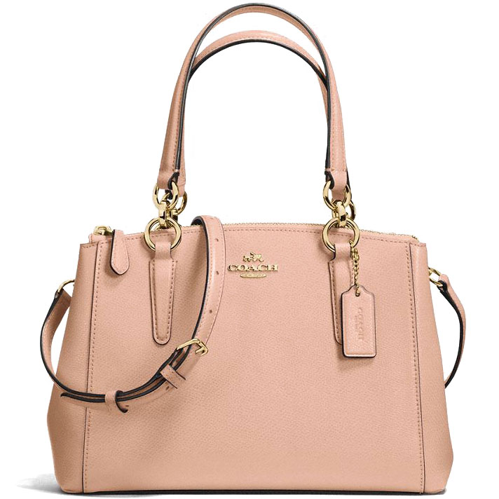 Coach Crossgrain Leather Mini Christie Carryall Crossbody Shoulder Bag Nude Pink # F57523
