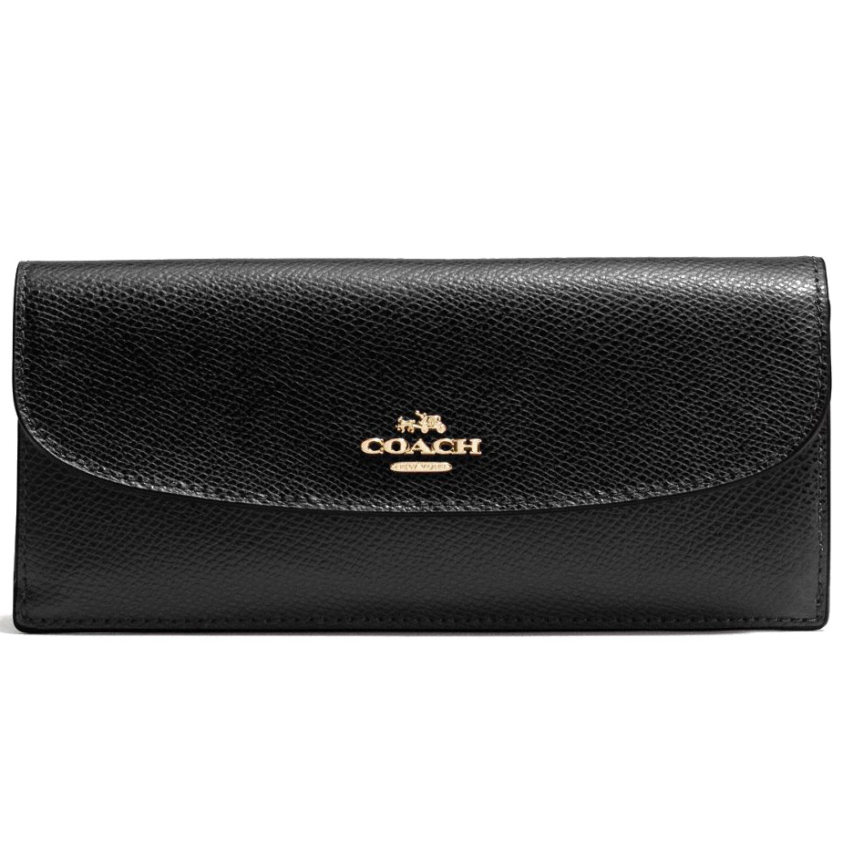 Coach Crossgrain Leather Soft Wallet Black # F54008