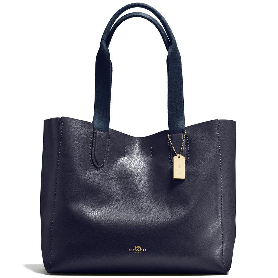 Coach Derby Tote In Pebble Leather Light Gold / Midnight # F58660
