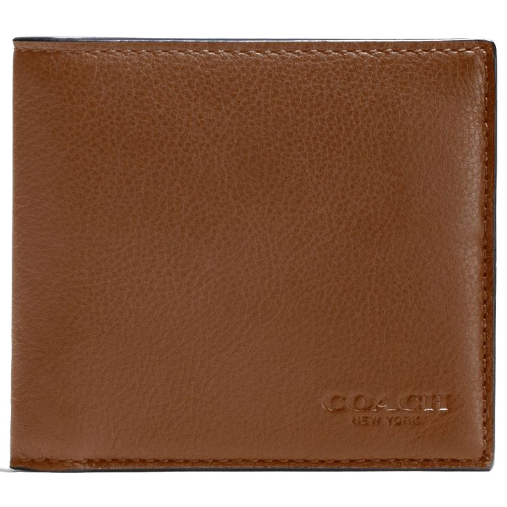 Coach Double Billfold Wallet In Calf Leather Dark Saddle Brown # F75084