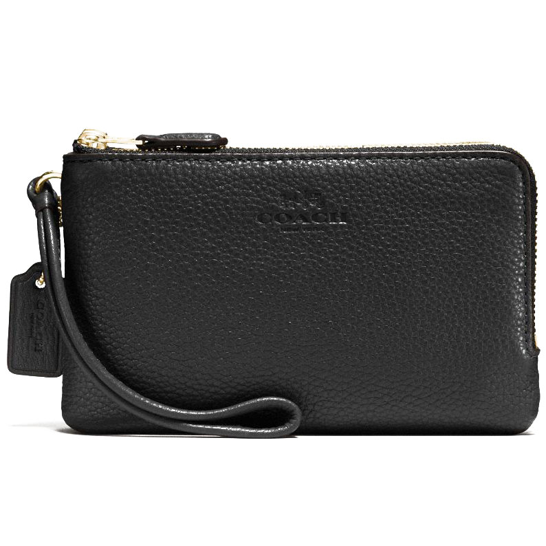 Coach Double Corner Zip Wristlet In Pebble Leather Black / Gold # F66505