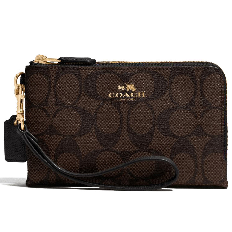 Coach Double Corner Zip Wristlet In Signature Coated Canvas Black / Brown # F64131