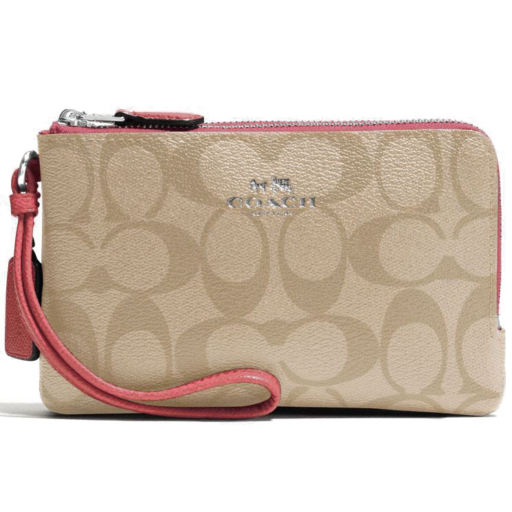 Coach Double Corner Zip Wristlet In Signature Light Khaki / Strawberry Pink / Silver # F66506
