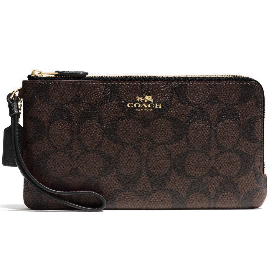 Coach Double Zip Large Wristlet Wallet In Signature Black / Brown # F54057