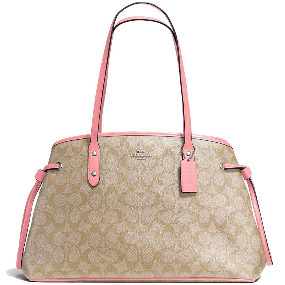 Coach Drawstring Carryall In Signature Coated Canvas Light Khaki Brown / Blush Pink # F57842