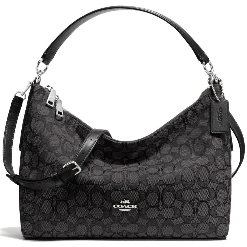 Coach East / West Celeste Convertible Hobo In Outline Signature Black Smoke # F58284