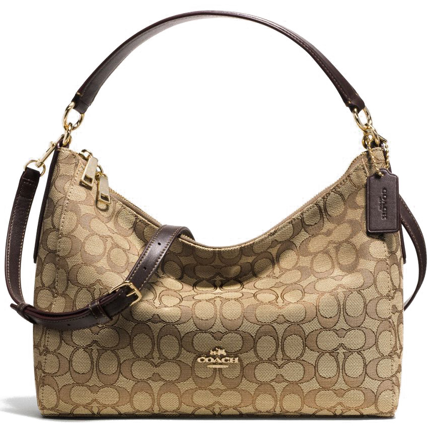 Coach East / West Celeste Convertible Hobo In Outline Signature Gold / Khaki / Brown # F58284