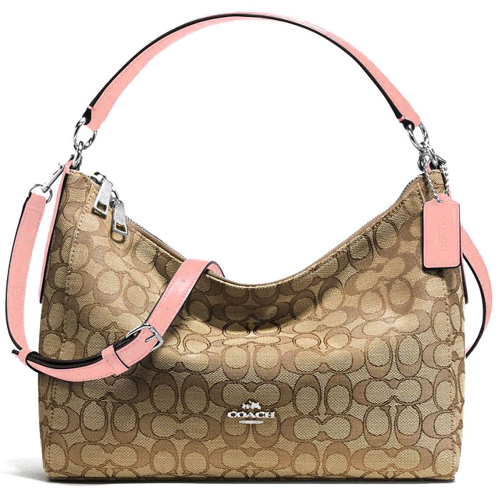 Coach East / West Celeste Convertible Hobo In Outline Signature Khaki Blush Pink # F58284