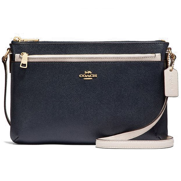 Coach East / West Crossbody With Pop-Up Pouch In Colorblock Midnight Navy Dark Blue / Chalk White / Light Gold # F28382
