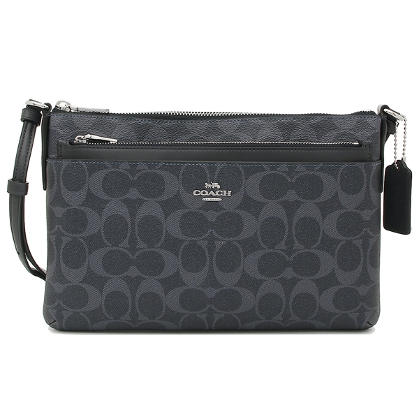 Coach East / West Crossbody With Pop-Up Pouch In Signature Canvas Demin / Midnight Navy Dark Blue / Silver # F29725