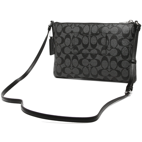 Coach East / West Crossbody With Pop-Up Pouch In Signature Coated Canvas Silver / Black Smoke # F58316