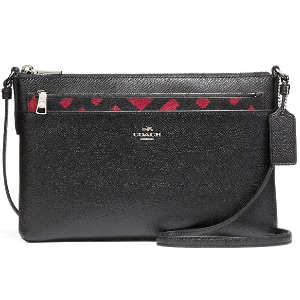 Coach East / West Crossbody With Pop-Up Pouch With Wild Plaid Print Red Black Multi # F22251