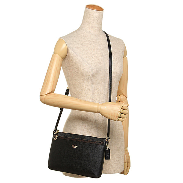 75fb1a3846b0f ... italy coach east west crossbody with pop up pouch in crossgrain leather  gold black f115f 3d4e2