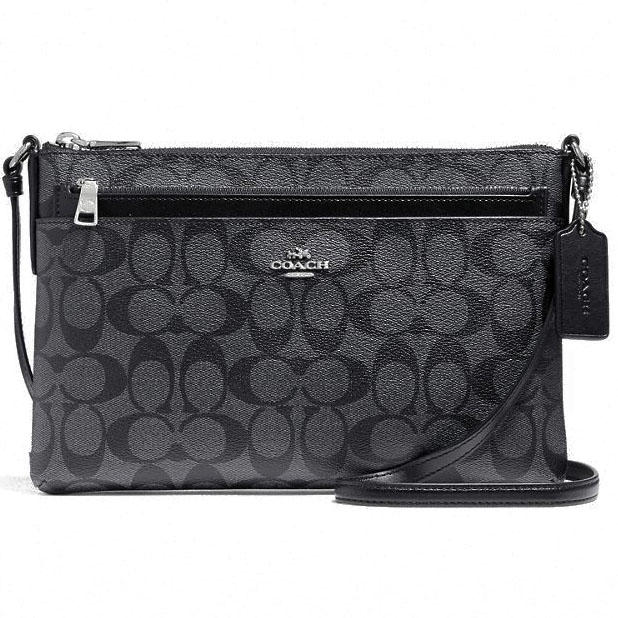 Coach East / West Crossbody With Pop Up Pouch In Signature Black Smoke / Silver # F58316
