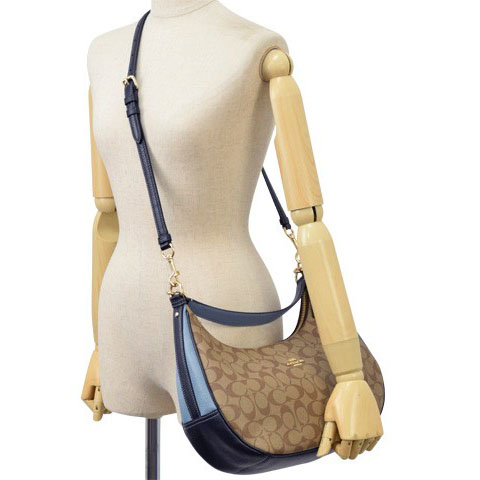 5d0d49ddca Coach East   West Harley Hobo In Colorblock Signature Canvas Khaki    Midnight Pool   Light