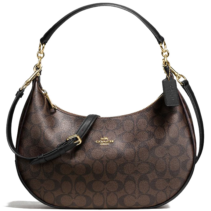 Coach East / West Harley Hobo In Signature Coated Canvas Black Brown # F58288