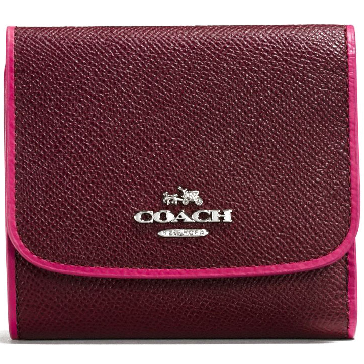 Coach Edgestain Leather Small Wallet Silver / Burgundy # 54748