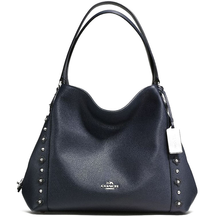Coach Edie Shoulder Bag 31 In Floral Rivets Leather Silver / Navy / Black # F37700