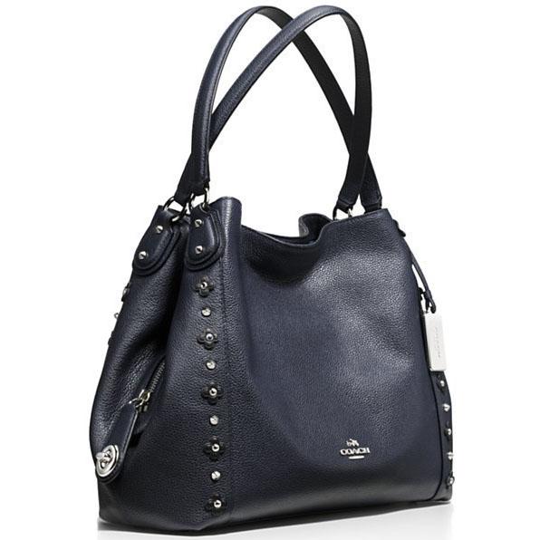 1b74ca3d3e Coach Edie Shoulder Bag 31 In Floral Rivets Leather Silver   Navy   Black    F37700