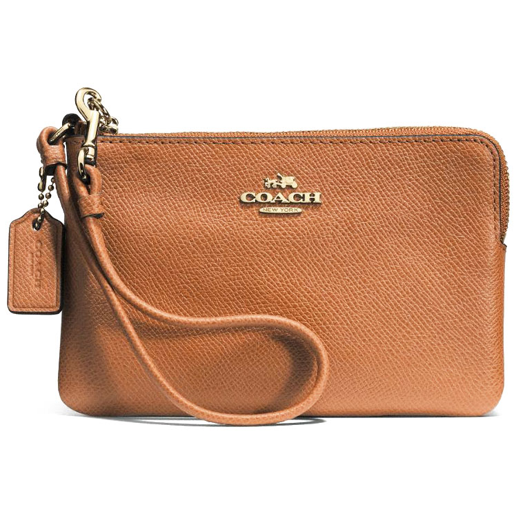 Coach Embossed Small Corner Zip Leather Wristlet Saddle / Brown # 52392