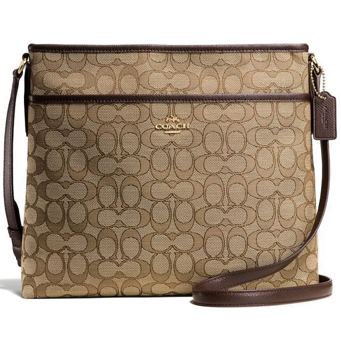 Coach File Bag Khaki / Brown / Gold # F58285