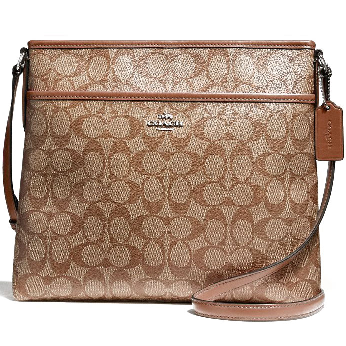 Coach File Bag In Signature Khaki / Saddle Brown Brown # F58297