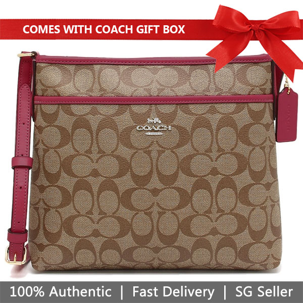 Coach File Crossbody In Signature Canvas Khaki / Dark Fuschia # F29210