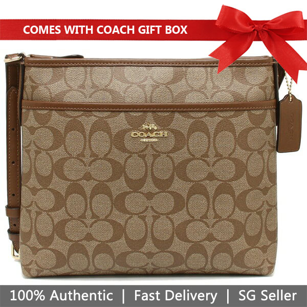 Coach File Crossbody In Signature Canvas Khaki / Saddle Brown 2 # F29210